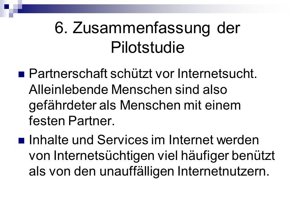 6. Zusammenfassung der Pilotstudie Partnerschaft schützt vor Internetsucht. Alleinlebende Menschen sind also gefährdeter als Menschen mit einem festen