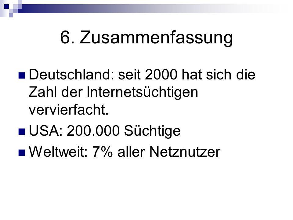 6. Zusammenfassung Deutschland: seit 2000 hat sich die Zahl der Internetsüchtigen vervierfacht. USA: 200.000 Süchtige Weltweit: 7% aller Netznutzer