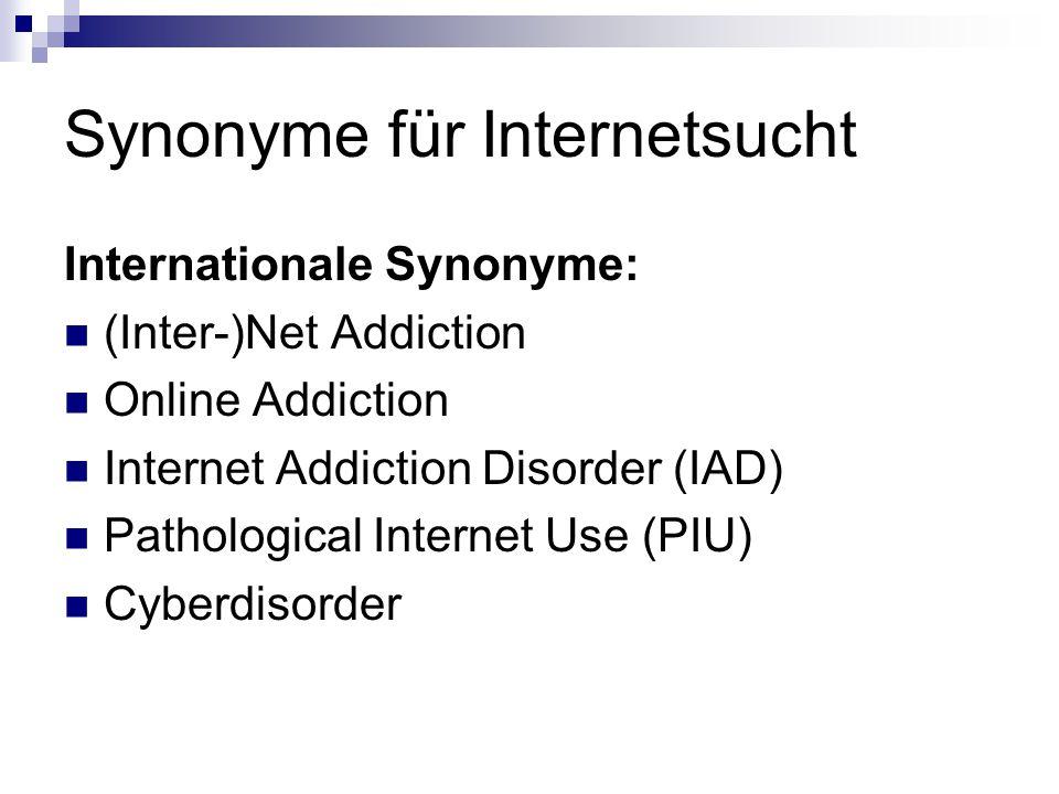 Synonyme für Internetsucht Internationale Synonyme: (Inter-)Net Addiction Online Addiction Internet Addiction Disorder (IAD) Pathological Internet Use
