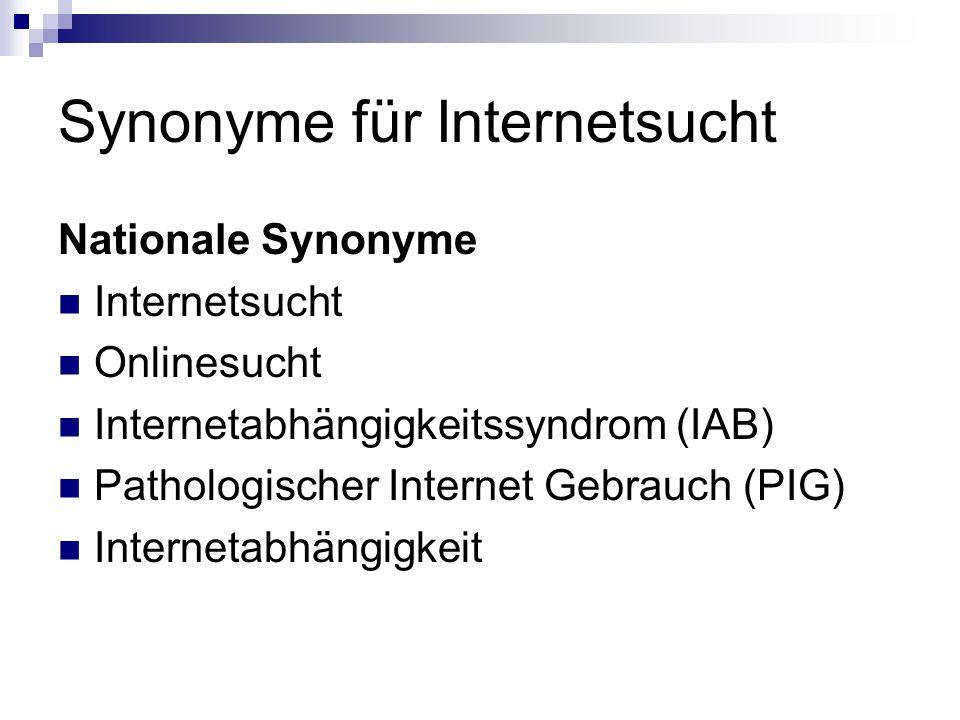 Synonyme für Internetsucht Nationale Synonyme Internetsucht Onlinesucht Internetabhängigkeitssyndrom (IAB) Pathologischer Internet Gebrauch (PIG) Inte