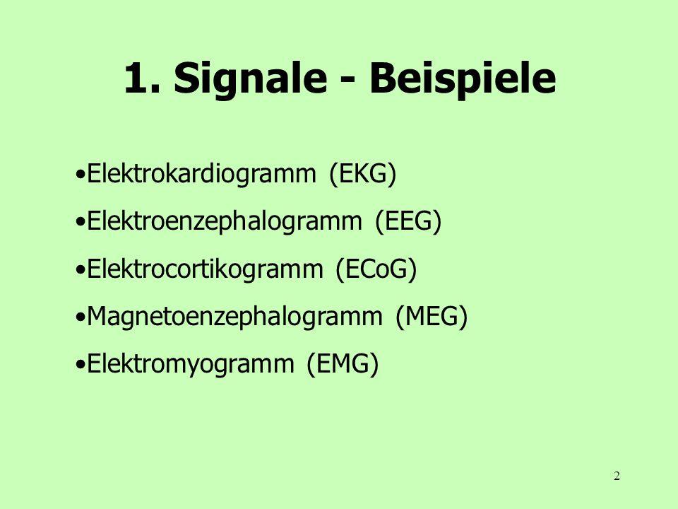 2 1. Signale - Beispiele Elektrokardiogramm (EKG) Elektroenzephalogramm (EEG) Elektrocortikogramm (ECoG) Magnetoenzephalogramm (MEG) Elektromyogramm (
