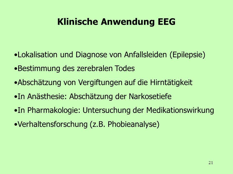 21 Klinische Anwendung EEG Lokalisation und Diagnose von Anfallsleiden (Epilepsie) Bestimmung des zerebralen Todes Abschätzung von Vergiftungen auf di