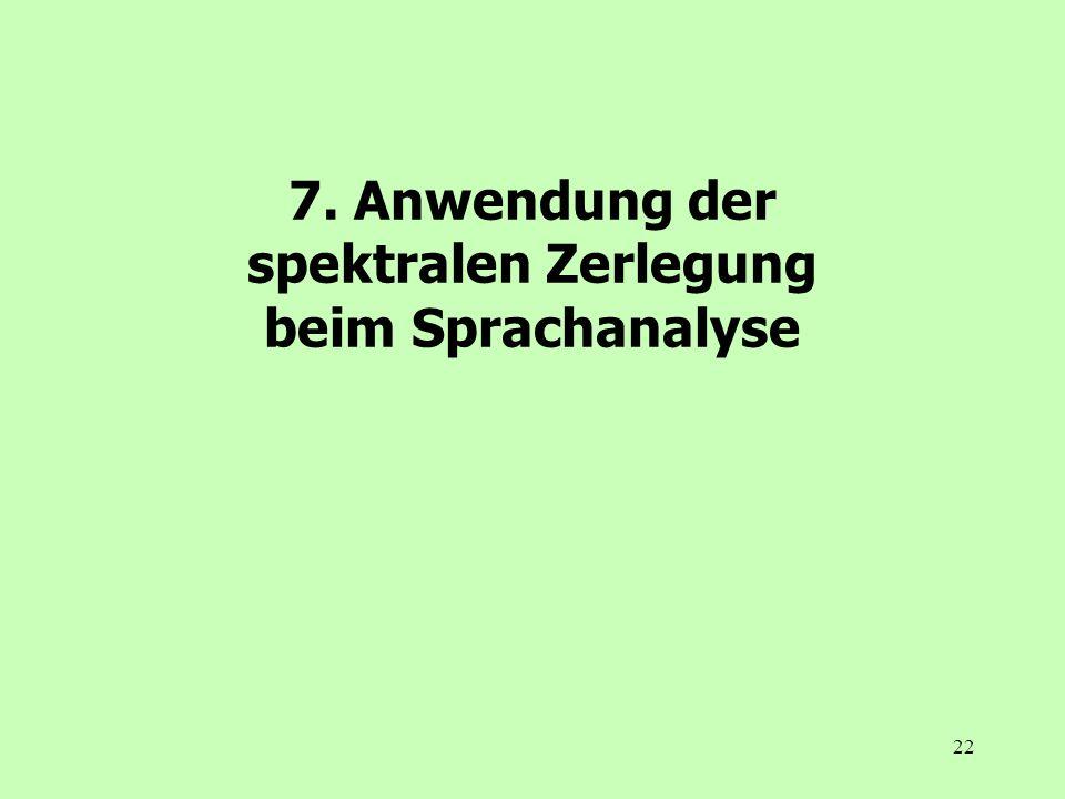 22 7. Anwendung der spektralen Zerlegung beim Sprachanalyse