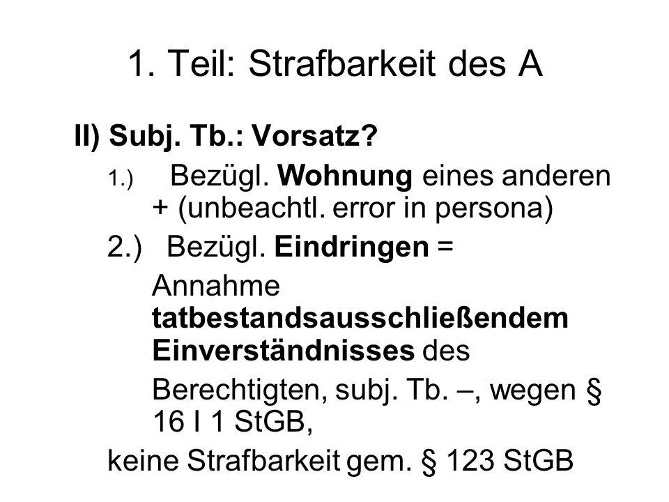 1. Teil: Strafbarkeit des A II) Subj. Tb.: Vorsatz.