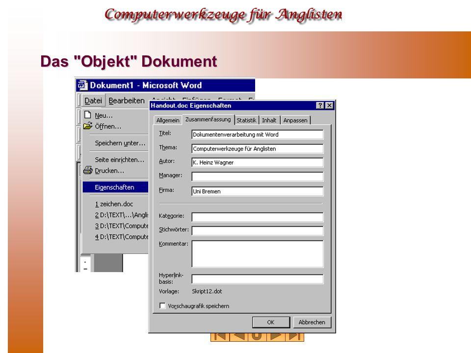 Das Objekt Dokument
