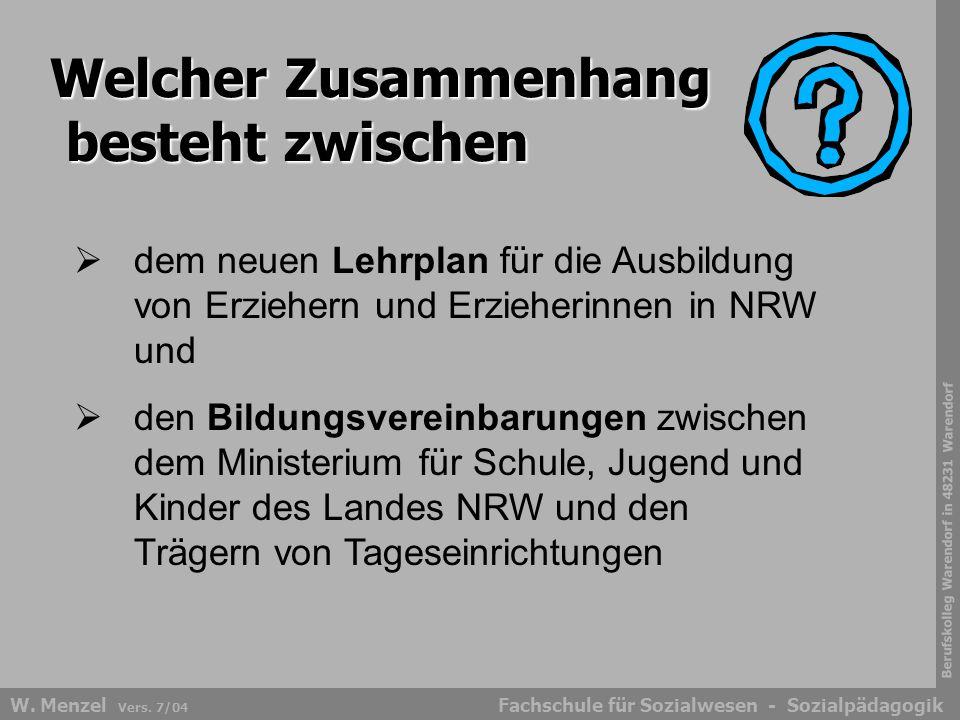 Berufskolleg Warendorf in 48231 Warendorf Fachschule für Sozialwesen - SozialpädagogikW. Menzel Vers. 7/04 Welcher Zusammenhang besteht zwischen  dem