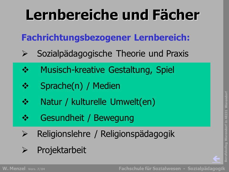Berufskolleg Warendorf in 48231 Warendorf Fachschule für Sozialwesen - SozialpädagogikW. Menzel Vers. 7/04 Lernbereiche und Fächer Fachrichtungsbezoge