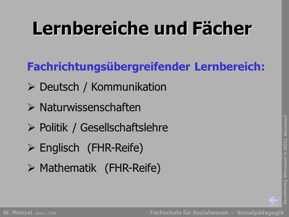 Berufskolleg Warendorf in 48231 Warendorf Fachschule für Sozialwesen - SozialpädagogikW. Menzel Vers. 7/04 Lernbereiche und Fächer Fachrichtungsübergr