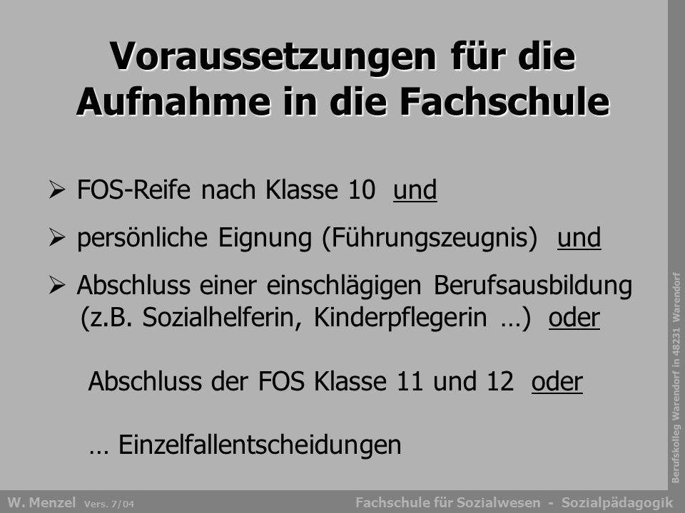 Berufskolleg Warendorf in 48231 Warendorf Fachschule für Sozialwesen - SozialpädagogikW. Menzel Vers. 7/04  FOS-Reife nach Klasse 10 und  persönlich