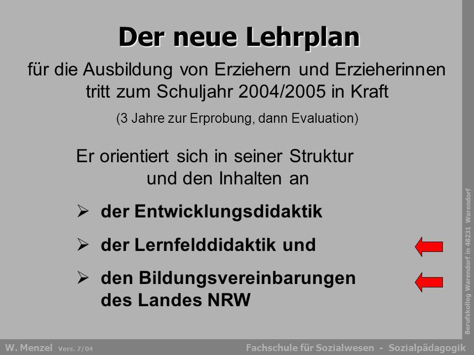 Berufskolleg Warendorf in 48231 Warendorf Fachschule für Sozialwesen - SozialpädagogikW. Menzel Vers. 7/04 Der neue Lehrplan für die Ausbildung von Er