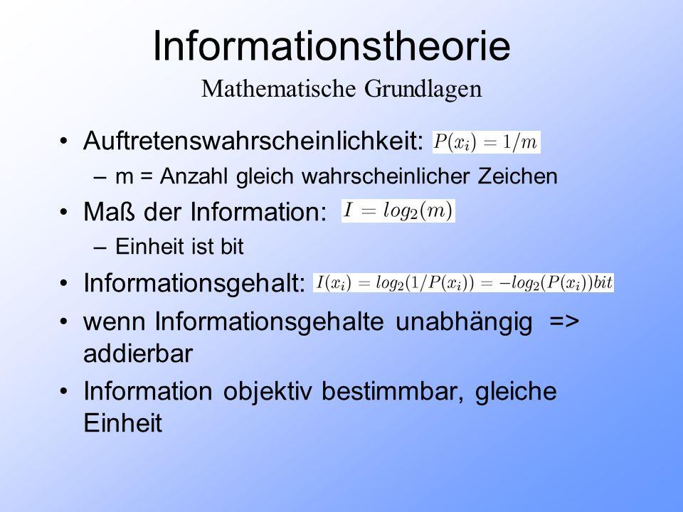 Informationstheorie Auftretenswahrscheinlichkeit: –m = Anzahl gleich wahrscheinlicher Zeichen Maß der Information: –Einheit ist bit Informationsgehalt: wenn Informationsgehalte unabhängig => addierbar Information objektiv bestimmbar, gleiche Einheit Mathematische Grundlagen