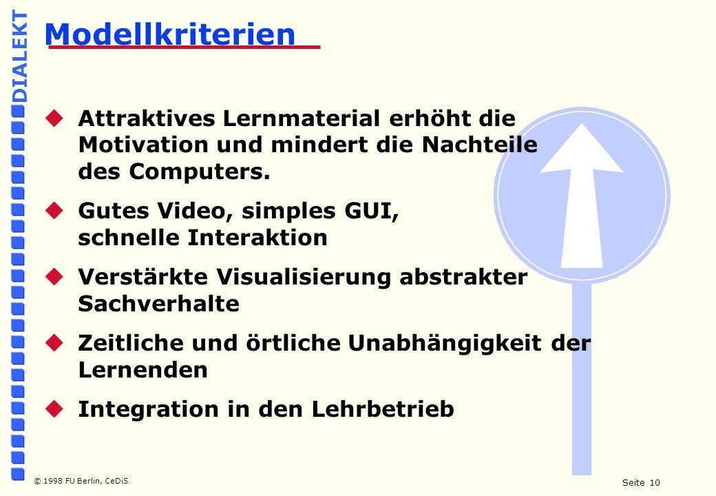 Seite 10 © 1998 FU Berlin, CeDiS DIALEKT  Attraktives Lernmaterial erhöht die Motivation und mindert die Nachteile des Computers.
