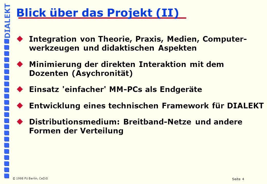 Seite 5 © 1998 FU Berlin, CeDiS DIALEKT Multimedia  Methoden und Anwendungsmodelle  Technik und Produktionsmodelle  Infrastruktur und Verteilungsmodelle Drei Dimensionen von Multimedia: