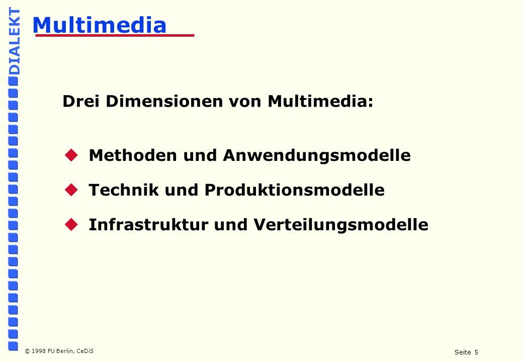 Seite 6 © 1998 FU Berlin, CeDiS DIALEKT Multimediales Lernen  Computer Based Training (CBT, CUU, CAT usw.)  Digitale Lektionen  Virtuelle Hörsäle  Virtuelle Seminare, CSCW  Video/Desktop Conferencing  Digitale Bibliotheken