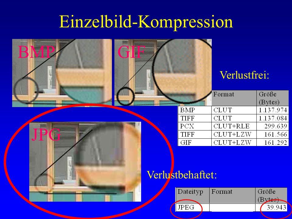 Einzelbild-Kompression Verlustfrei: BMP JPG GIF Verlustbehaftet: