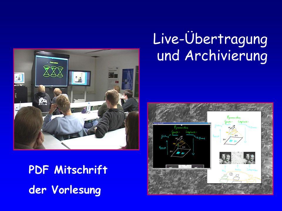 Live-Übertragung und Archivierung PDF Mitschrift der Vorlesung