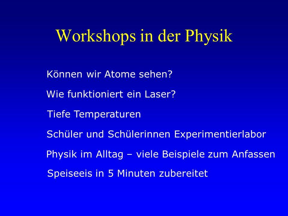 Workshops in der Physik Können wir Atome sehen. Wie funktioniert ein Laser.