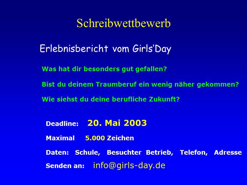 Schreibwettbewerb Erlebnisbericht vom Girls'Day Was hat dir besonders gut gefallen.