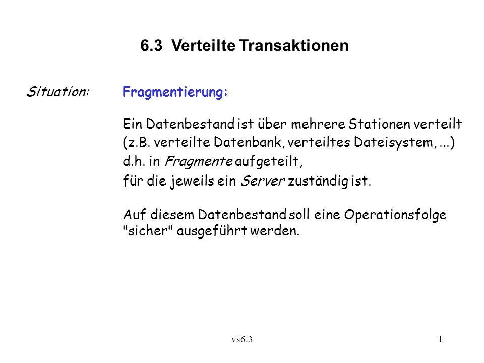 vs6.31 6.3 Verteilte Transaktionen Situation:Fragmentierung: Ein Datenbestand ist über mehrere Stationen verteilt (z.B. verteilte Datenbank, verteilte