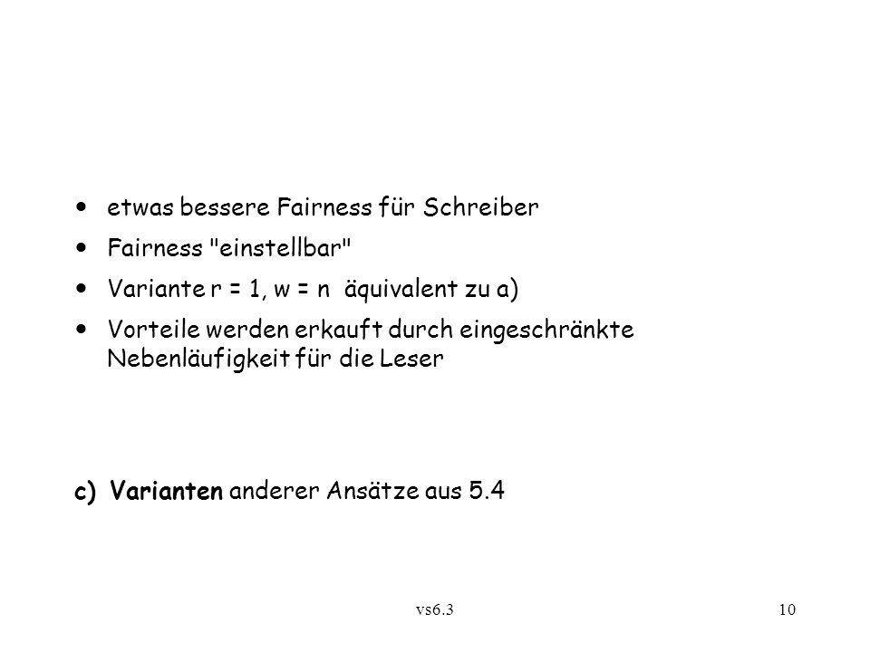 vs6.310 c) Varianten anderer Ansätze aus 5.4 etwas bessere Fairness für Schreiber Fairness
