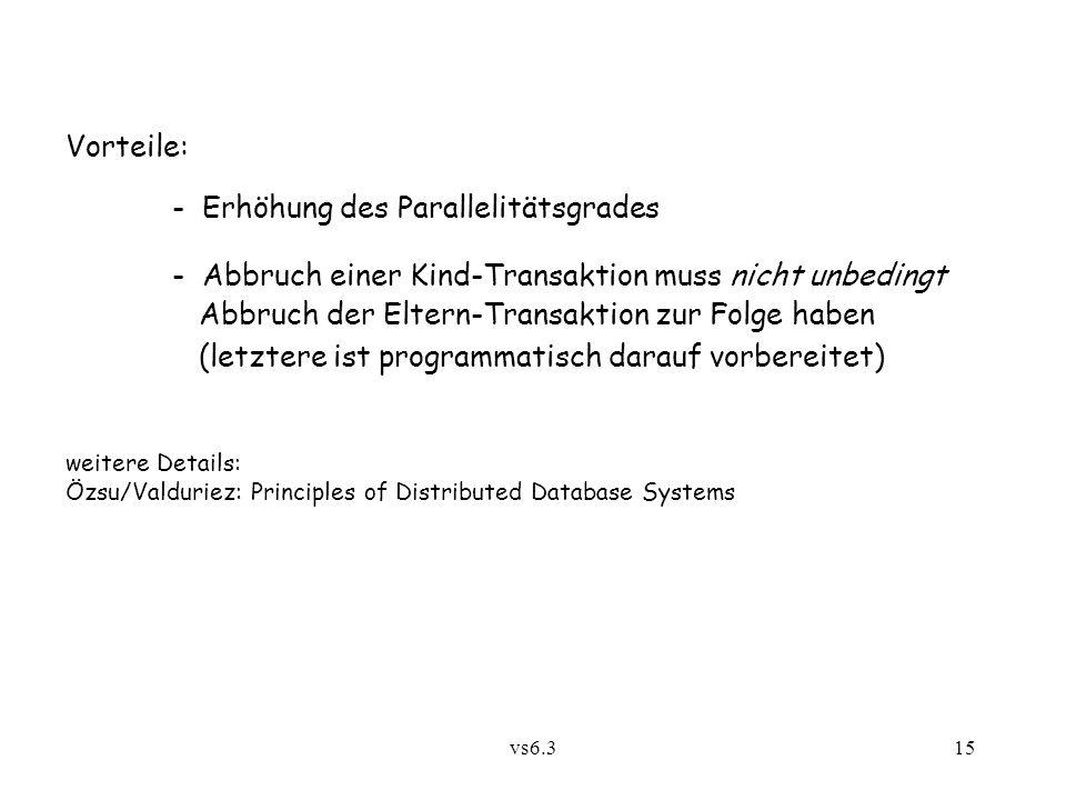vs6.315 Vorteile: - Erhöhung des Parallelitätsgrades - Abbruch einer Kind-Transaktion muss nicht unbedingt Abbruch der Eltern-Transaktion zur Folge ha