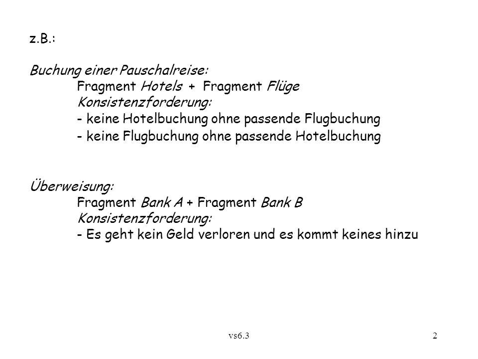 vs6.32 z.B.: Buchung einer Pauschalreise: Fragment Hotels + Fragment Flüge Konsistenzforderung: - keine Hotelbuchung ohne passende Flugbuchung - keine