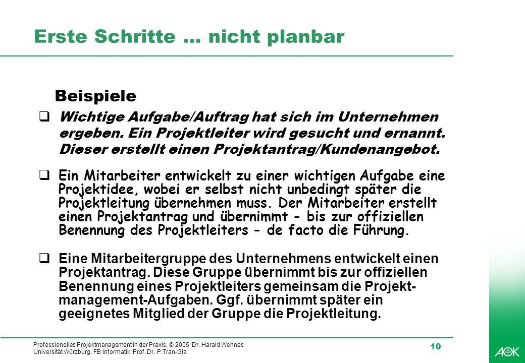 Professionelles Projektmanagement in der Praxis, © 2005 Dr. Harald Wehnes Universität Würzburg, FB Informatik, Prof. Dr. P.Tran-Gia 10 Erste Schritte.