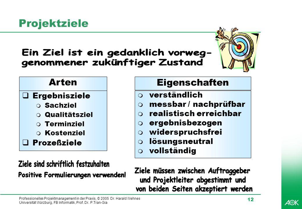 Professionelles Projektmanagement in der Praxis, © 2005 Dr. Harald Wehnes Universität Würzburg, FB Informatik, Prof. Dr. P.Tran-Gia 12 Projektziele Ei