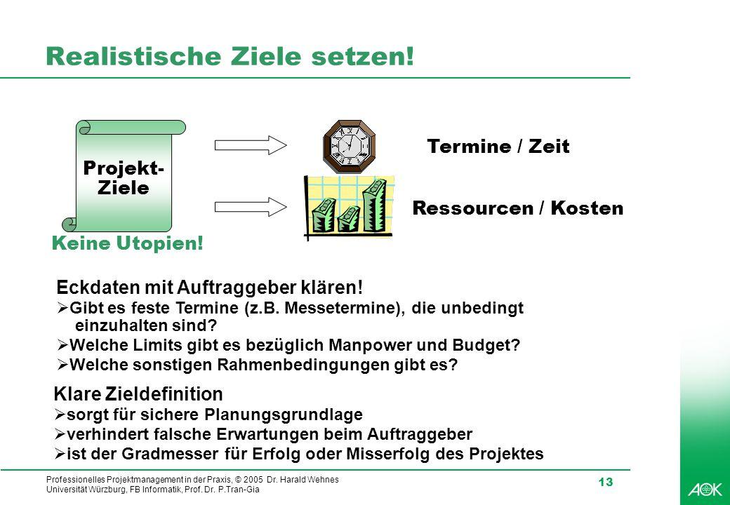 Professionelles Projektmanagement in der Praxis, © 2005 Dr. Harald Wehnes Universität Würzburg, FB Informatik, Prof. Dr. P.Tran-Gia 13 Realistische Zi