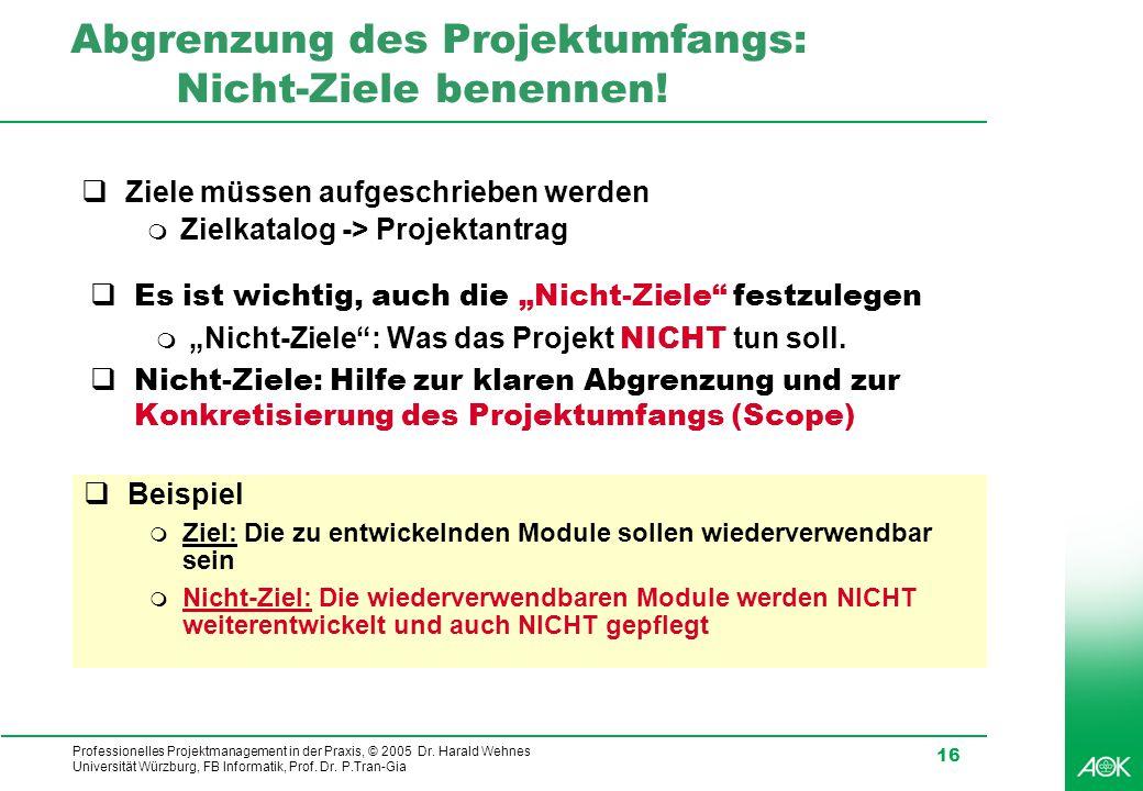 Professionelles Projektmanagement in der Praxis, © 2005 Dr. Harald Wehnes Universität Würzburg, FB Informatik, Prof. Dr. P.Tran-Gia 16 Abgrenzung des
