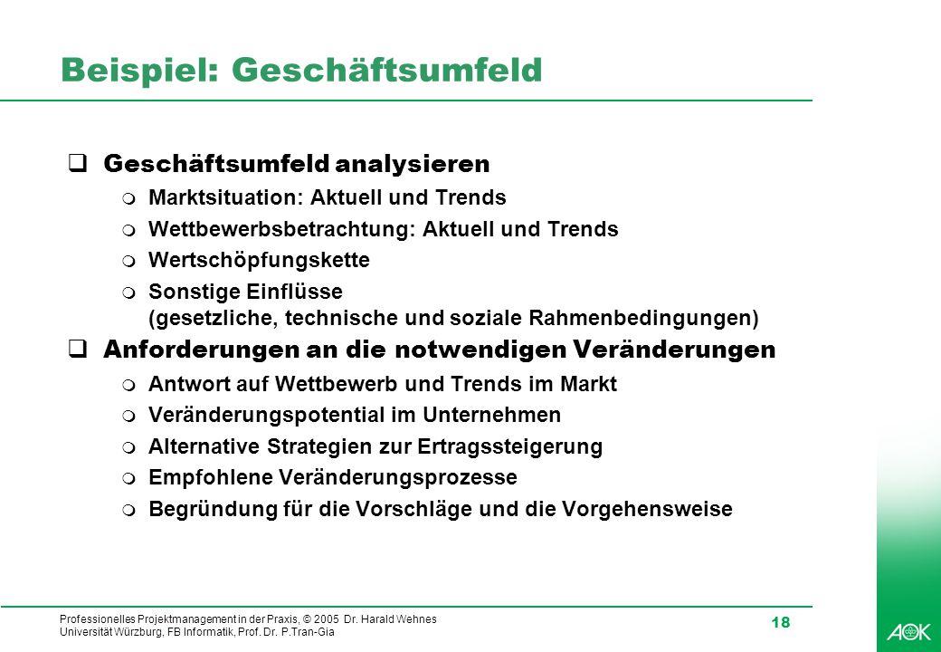 Professionelles Projektmanagement in der Praxis, © 2005 Dr. Harald Wehnes Universität Würzburg, FB Informatik, Prof. Dr. P.Tran-Gia 18 Beispiel: Gesch