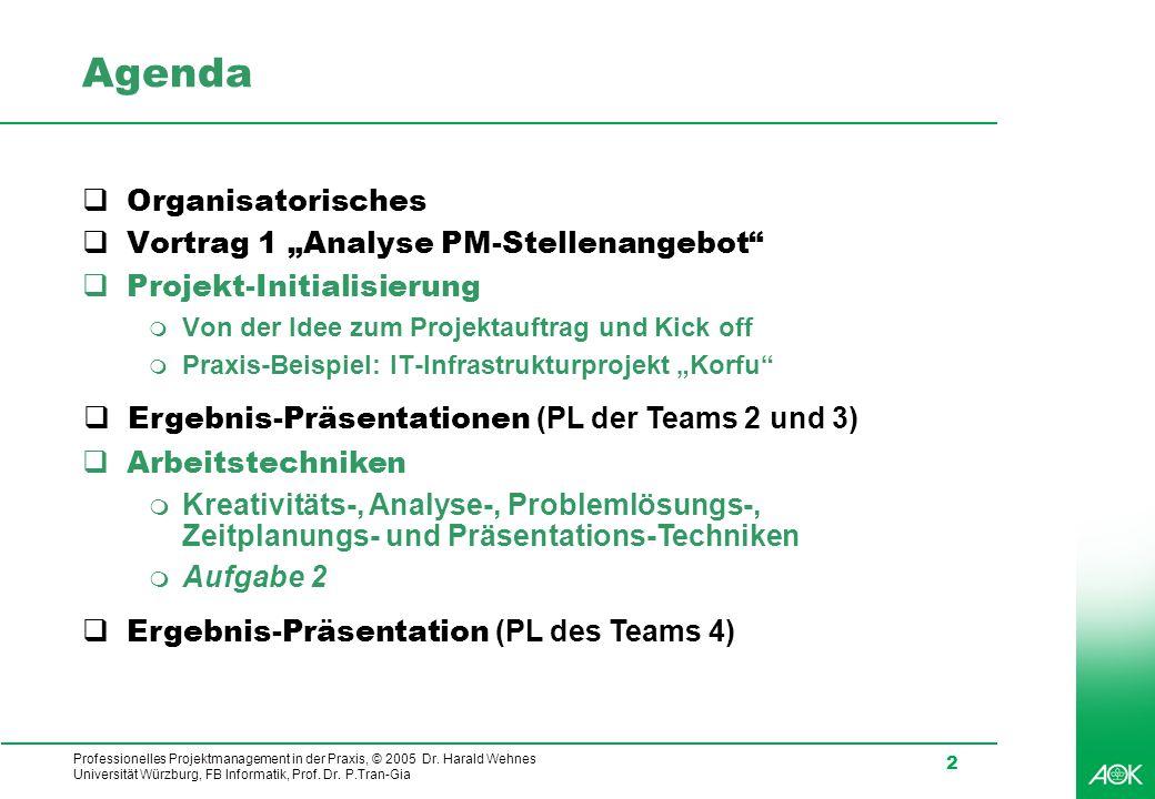 Professionelles Projektmanagement in der Praxis, © 2005 Dr. Harald Wehnes Universität Würzburg, FB Informatik, Prof. Dr. P.Tran-Gia 2 Agenda  Organis