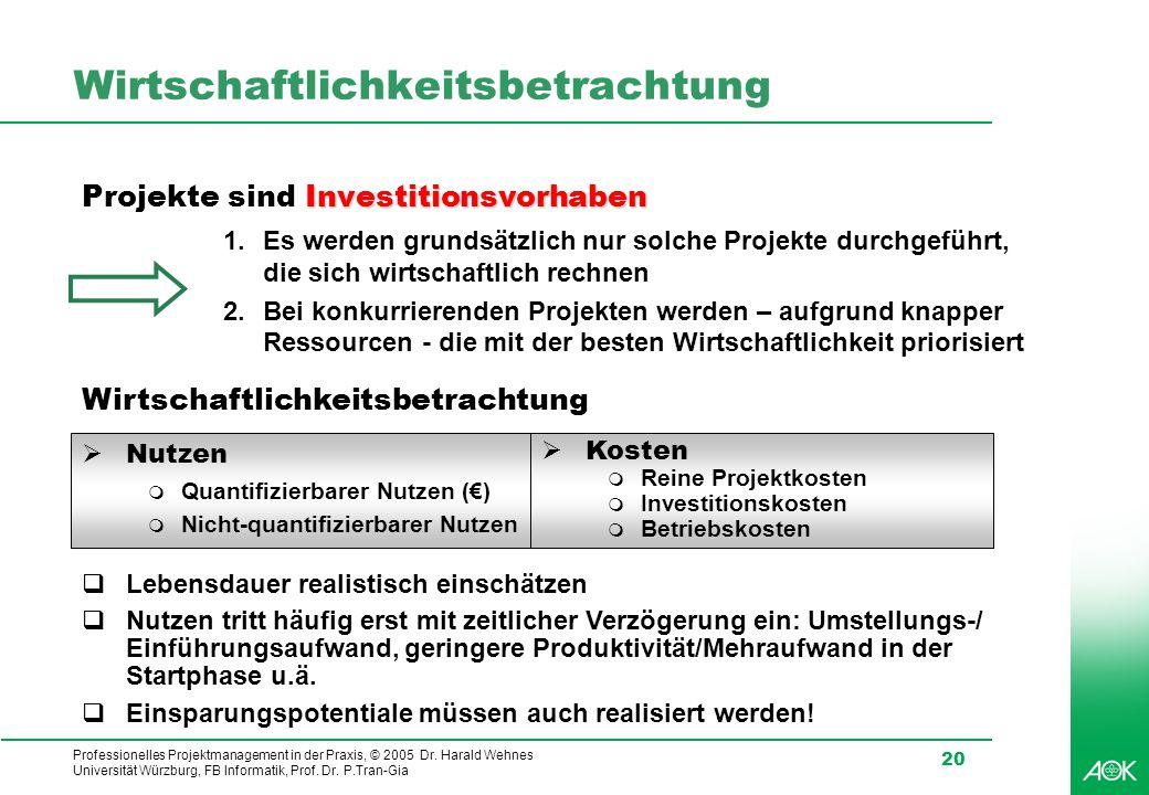 Professionelles Projektmanagement in der Praxis, © 2005 Dr. Harald Wehnes Universität Würzburg, FB Informatik, Prof. Dr. P.Tran-Gia 20 Wirtschaftlichk