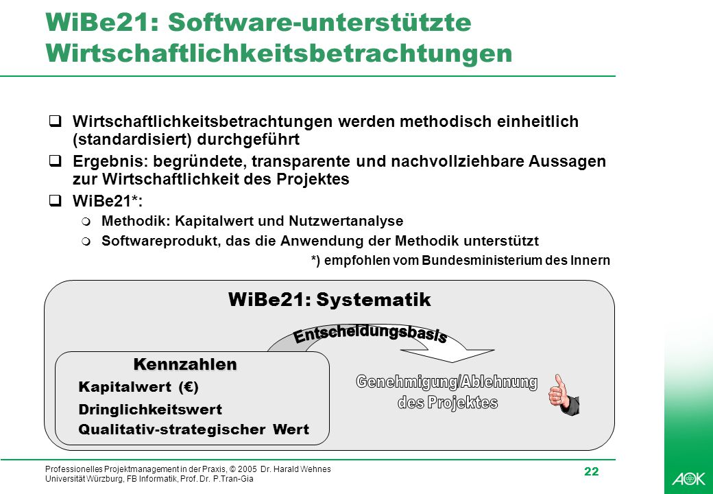 Professionelles Projektmanagement in der Praxis, © 2005 Dr. Harald Wehnes Universität Würzburg, FB Informatik, Prof. Dr. P.Tran-Gia 22 WiBe21: Softwar