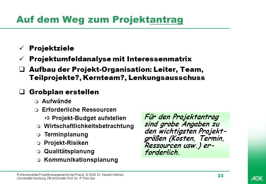 Professionelles Projektmanagement in der Praxis, © 2005 Dr. Harald Wehnes Universität Würzburg, FB Informatik, Prof. Dr. P.Tran-Gia 23 Auf dem Weg zum