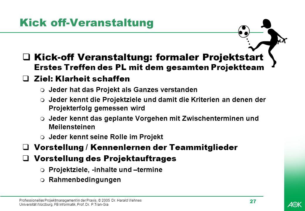 Professionelles Projektmanagement in der Praxis, © 2005 Dr. Harald Wehnes Universität Würzburg, FB Informatik, Prof. Dr. P.Tran-Gia 27 Kick off-Verans