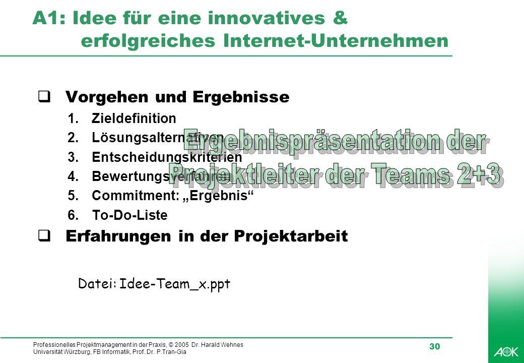 Professionelles Projektmanagement in der Praxis, © 2005 Dr. Harald Wehnes Universität Würzburg, FB Informatik, Prof. Dr. P.Tran-Gia 30 A1: Idee für ei
