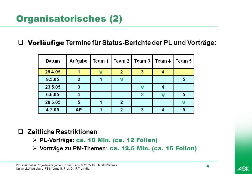Professionelles Projektmanagement in der Praxis, © 2005 Dr. Harald Wehnes Universität Würzburg, FB Informatik, Prof. Dr. P.Tran-Gia 4 Organisatorische