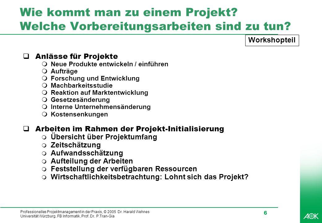 Professionelles Projektmanagement in der Praxis, © 2005 Dr. Harald Wehnes Universität Würzburg, FB Informatik, Prof. Dr. P.Tran-Gia 6 Wie kommt man zu