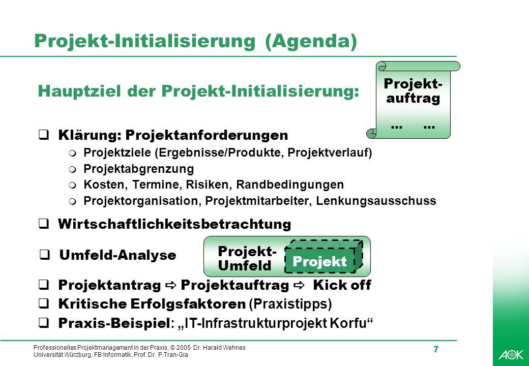 Professionelles Projektmanagement in der Praxis, © 2005 Dr. Harald Wehnes Universität Würzburg, FB Informatik, Prof. Dr. P.Tran-Gia 7 Projekt-Initiali