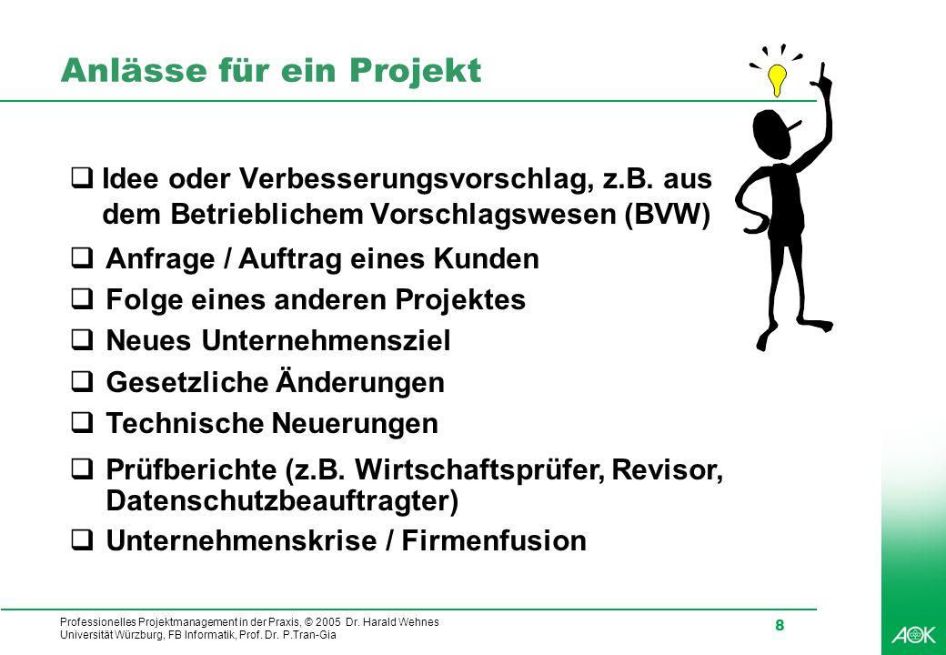 Professionelles Projektmanagement in der Praxis, © 2005 Dr. Harald Wehnes Universität Würzburg, FB Informatik, Prof. Dr. P.Tran-Gia 8 Anlässe für ein