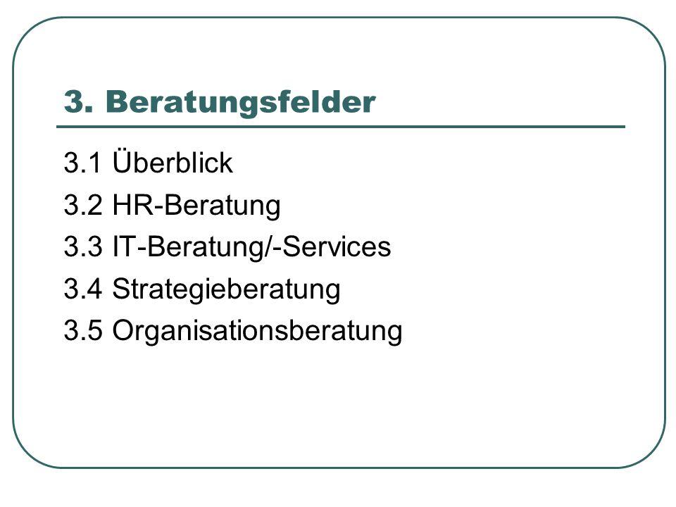3. Beratungsfelder 3.1 Überblick 3.2 HR-Beratung 3.3 IT-Beratung/-Services 3.4 Strategieberatung 3.5 Organisationsberatung
