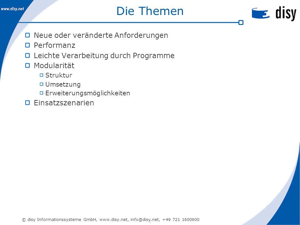 2 © disy Informationssysteme GmbH, www.disy.net, info@disy.net, +49 721 1600600 Die Themen Neue oder veränderte Anforderungen Performanz Leichte Verarbeitung durch Programme Modularität Struktur Umsetzung Erweiterungsmöglichkeiten Einsatzszenarien