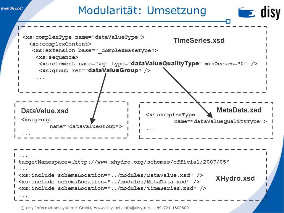 8 © disy Informationssysteme GmbH, www.disy.net, info@disy.net, +49 721 1600600 Modularität: Umsetzung...