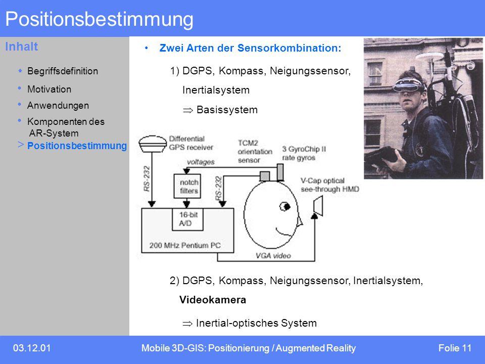 03.12.01Mobile 3D-GIS: Positionierung / Augmented Reality Folie 11 Inhalt Positionsbestimmung Zwei Arten der Sensorkombination: 1) DGPS, Kompass, Neigungssensor, Inertialsystem  Basissystem 2) DGPS, Kompass, Neigungssensor, Inertialsystem, Videokamera  Inertial-optisches System Motivation  Begriffsdefinition Anwendungen Komponenten des AR-System > Positionsbestimmung