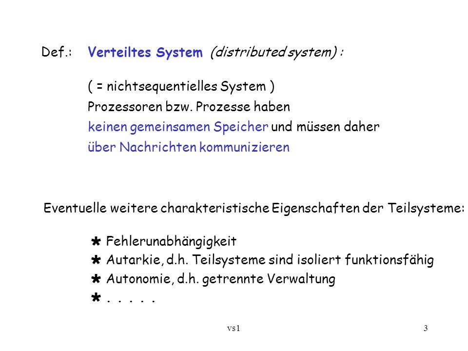 vs13 Def.:Verteiltes System (distributed system) : ( = nichtsequentielles System ) Prozessoren bzw. Prozesse haben keinen gemeinsamen Speicher und müs