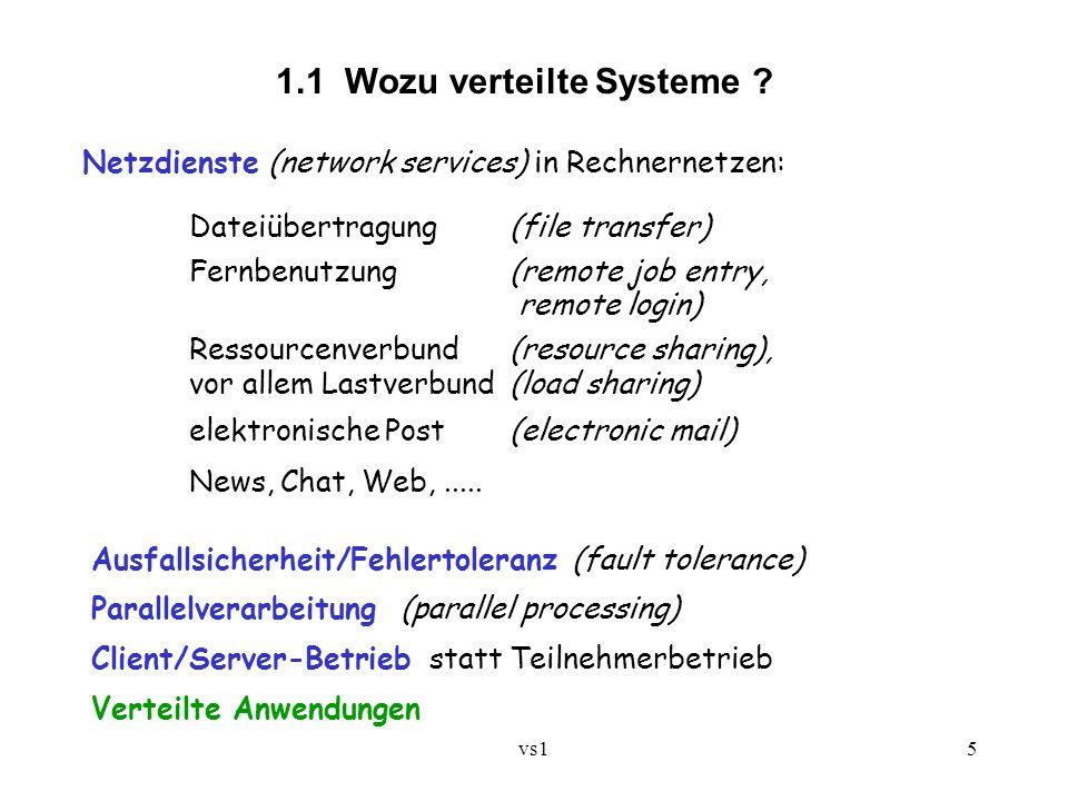 vs15 1.1 Wozu verteilte Systeme ? Netzdienste (network services) in Rechnernetzen: Dateiübertragung (file transfer) Fernbenutzung (remote job entry, r