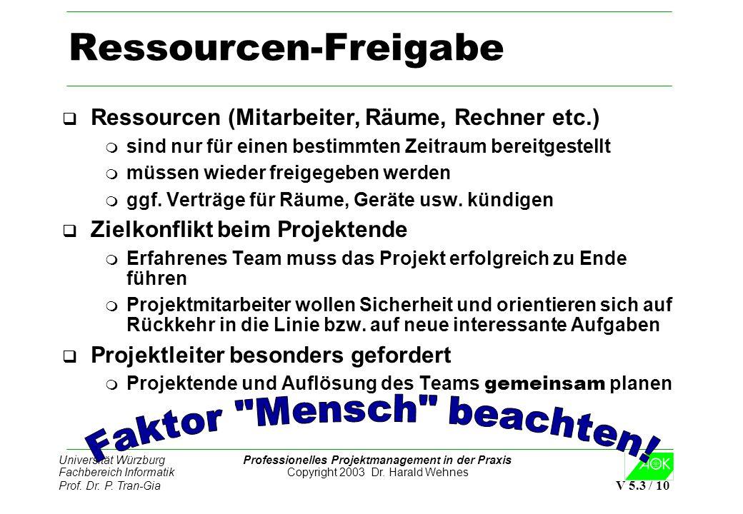 Universität Würzburg Professionelles Projektmanagement in der Praxis Fachbereich Informatik Copyright 2003 Dr. Harald Wehnes Prof. Dr. P. Tran-Gia V 5