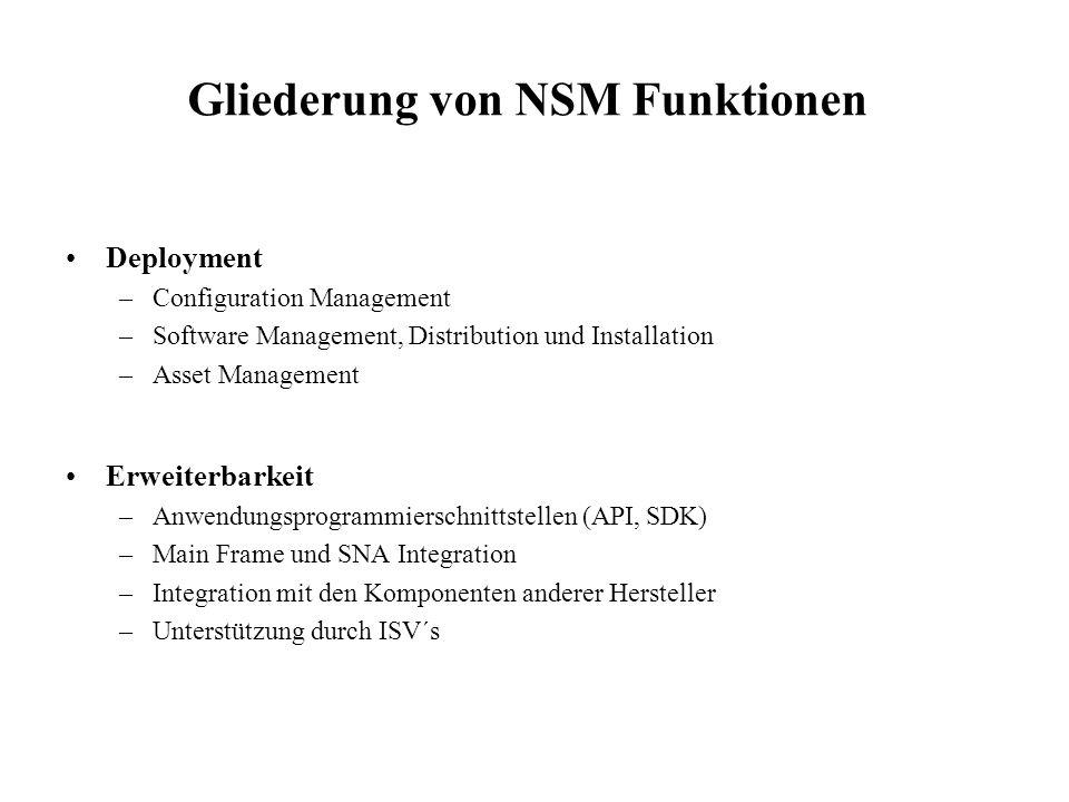 Gliederung von NSM Funktionen Deployment –Configuration Management –Software Management, Distribution und Installation –Asset Management Erweiterbarke