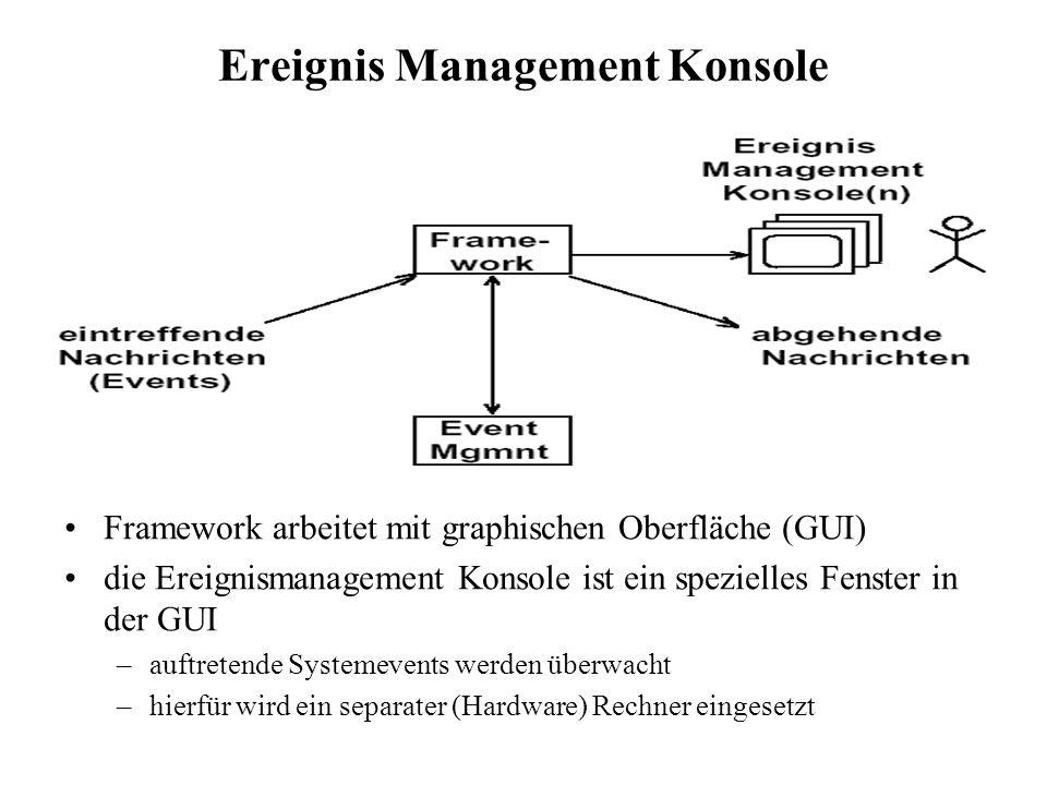 Ereignis Management Konsole Framework arbeitet mit graphischen Oberfläche (GUI) die Ereignismanagement Konsole ist ein spezielles Fenster in der GUI –